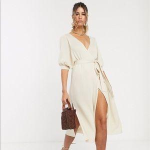 ASOS DESIGN wrap midi dress in rib knit
